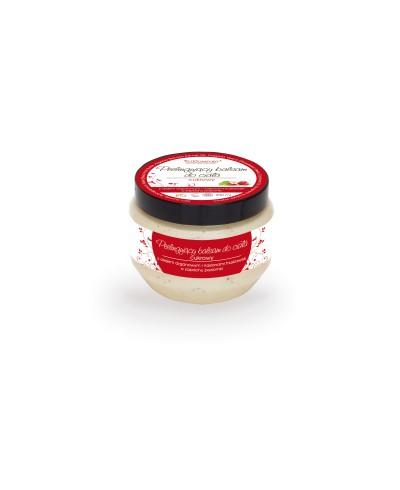 Peelingujący cukrowy balsam do ciała z olejem arganowym i nasionami truskawek o zapachu poziomki FITCOMFORT 200 ml