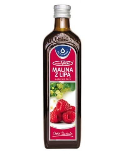 Sok naturalny 100% z malin OLEOFARM 490 ml